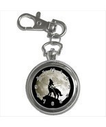 NEW* HOT WOLF FULL MOON Silver Tone Key Chain Ring Watch Gift - $21.47 CAD