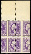 530, RARE MISPERFORATION ERROR - TOP MARGIN BLOCK OF FOUR - Stuart Katz - $99.00