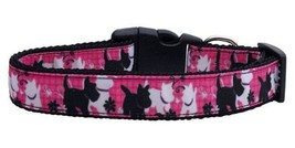 Plaid Pups Dog Collar * Adjustable Nylon Pink MD or LG * Puppy Pet Scottie - €11,25 EUR+