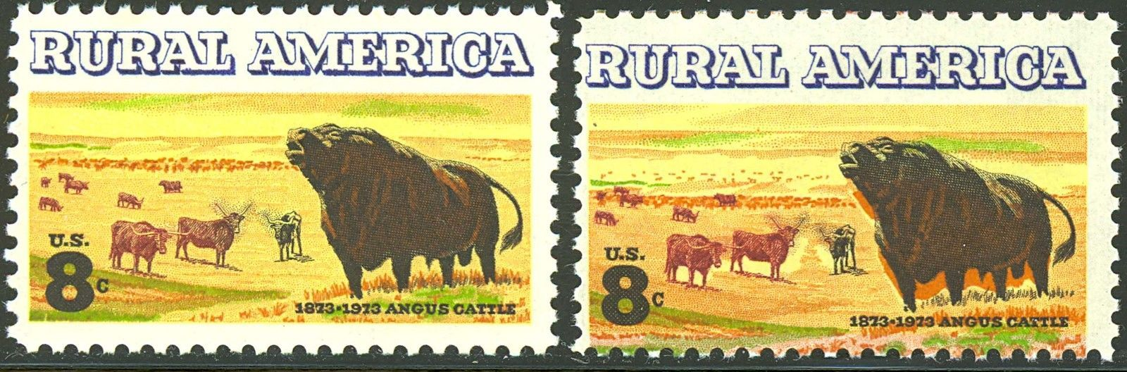 Primary image for 1504, SENSATIONAL All Colors Shifted ERROR Angus Cattle Stamp