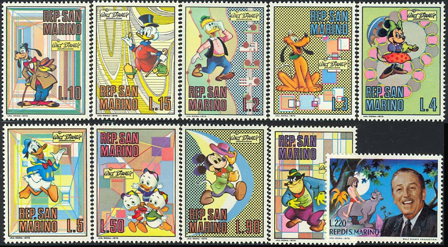 1st OFFICIAL DISNEY SET ISSUED  SAN MARINO 736-45 VF NH