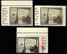 1433, Mint NH 8c John Sloan - TWO DIFFERENT COLOR SHIFT ERRORS - Stuart ... - $75.00