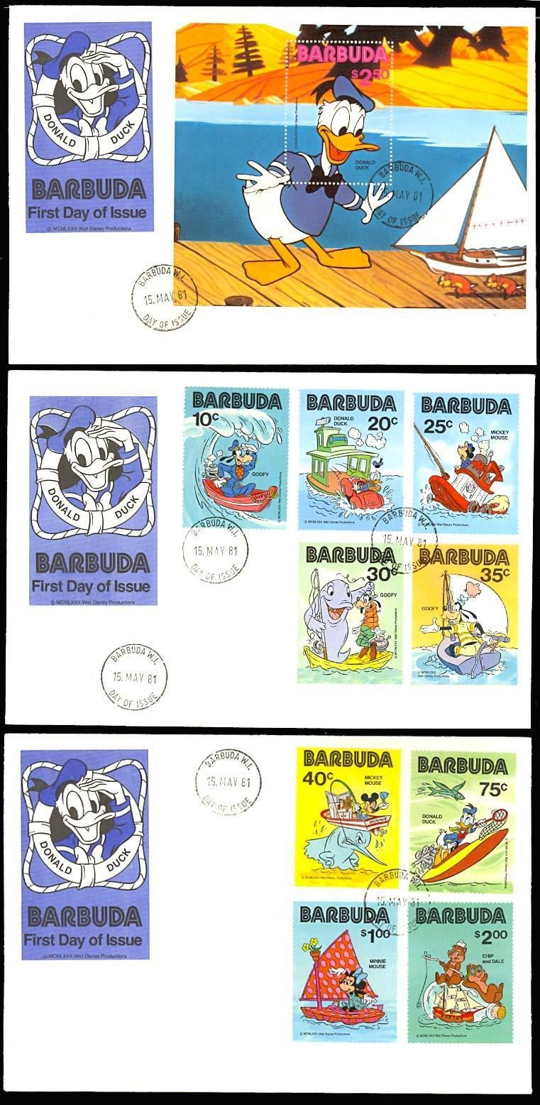 BARBUDA COMPLETE SET ON FIRST DAY COVERS - RARE!