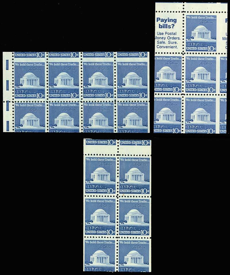 1510, MISCUT BOOKLET PANE ERRORS - THREE DIFFERENT - Mint NH - Stuart Katz