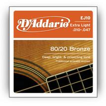 5 Sets D'Addario EJ10 80/20 Bronze Extra Light ... - $23.97