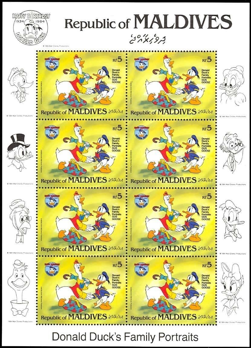 MALDIVES DISNEY DONALD DUCK SHEETLET OF EIGHT STAMPS