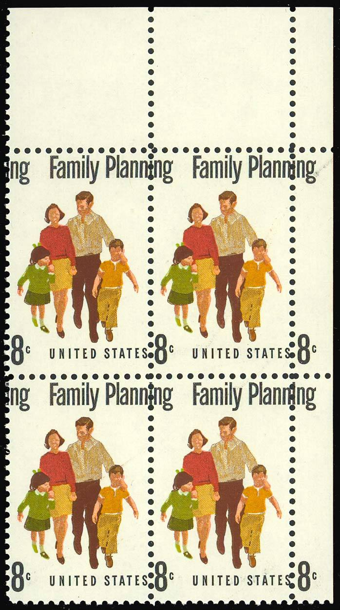 "1455 Color Shift ERROR ""Plate Block"" - 8¢ Family Planning - Stuart Katz image 2"