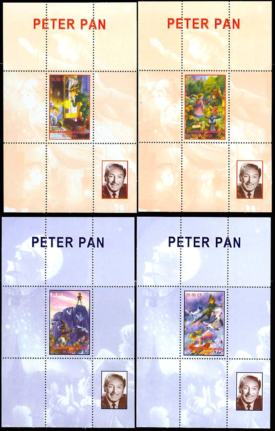 CONGO PETER PAN - SET OF FOUR SOUVENIR SHEETS - RARE!