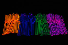 Neon Blacklight Reactive 48 piece Plastic Cutlery Set- Assorted - $6.50