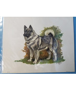 Norwegian Elkhound Dog Lithograph Art Print Picture by Ole Larsen 1950's - $34.95