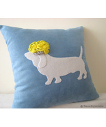 Dog Basset Hound With Funny Hair Blue And White Pillow Cover. Humor.Pets... - $28.00