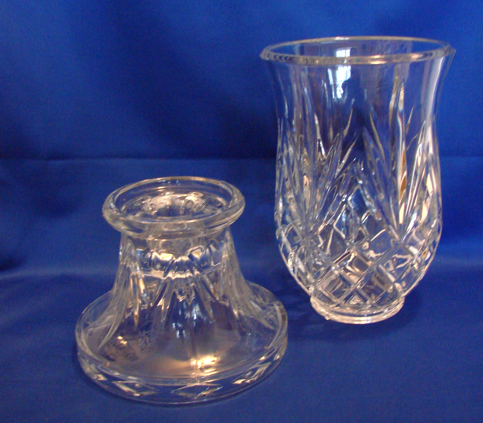 PartyLite Savannah Lead Crystal Hurricane Lamp Candle Holder  Two Piece