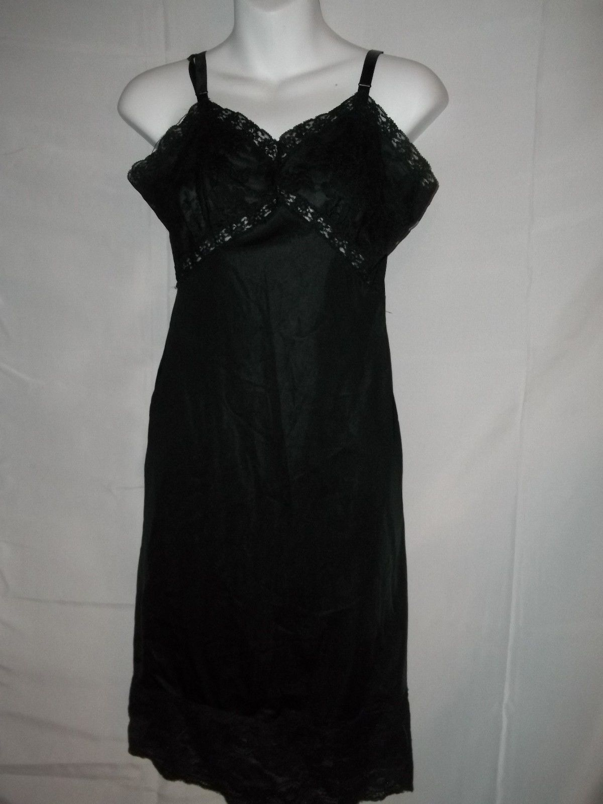 Primary image for Vintage Black Sears Full Dress lacy Slip Size 34 Lingerie