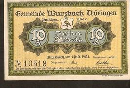 Germany Notgeld Wurzbach in Thuringen 10 Pfennig 1921 - No. 10518 - $3.00