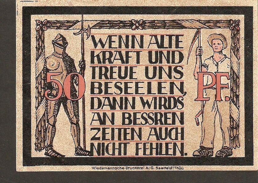 Germany Notgeld der Gemeinde Lauenstein in Oberfranken 50 Pfennig No. 22948 - $3.00