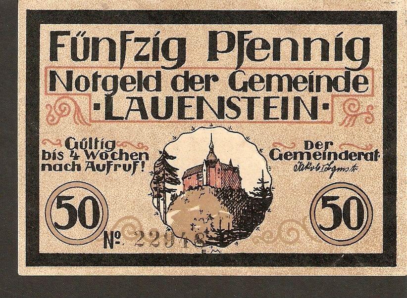 Germany Notgeld der Gemeinde Lauenstein in Oberfranken 50 Pfennig No. 22948