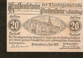 a44 Austria Kassenschein Marktgemeinde POTTENSTEIN 20 Heller 1920 Gemst.... - $8.00