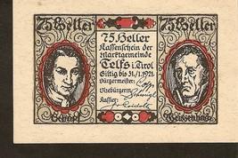 Austria Kassenschein d. Marktgemeinde TELFS i. Tirol  75 Heller 1921 - 5... - $3.00