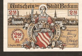 nnot3. Germany Notgeld der Stadt Beckum 2 MARK 1920 - with watermark & 5... - $7.00
