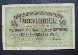 Darlehnskasse Ost Posen Poznan 3 Rubles Rubel 1916 Rare Gothic F crossed F - $69.00