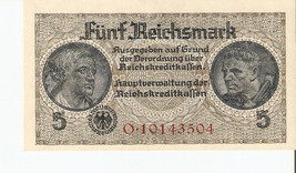 nofa. Germany 5 Reichsmark Mark 1940 - 1945 Ser. O.10143504 - UNC - $25.00