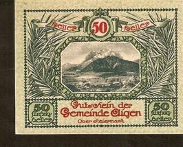 Austria Gutschein der gemeinde AIGEN Ober Steiermark 50 heller 1920 green - $4.00