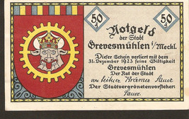 nonot3. Germany Notgeld der stadt Grevesmuhlen  50 Pfennig 1923 - $3.00