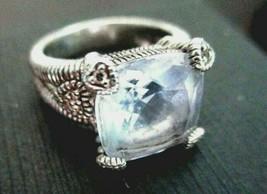 JUDITH RIPKA Blue Quartz w Diamond Heart Accents Split-Shank Sterling Ri... - $154.95