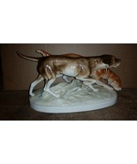 Royal Dux figurine pair pointing duck hunting dogs lg laborador golden r... - $147.51