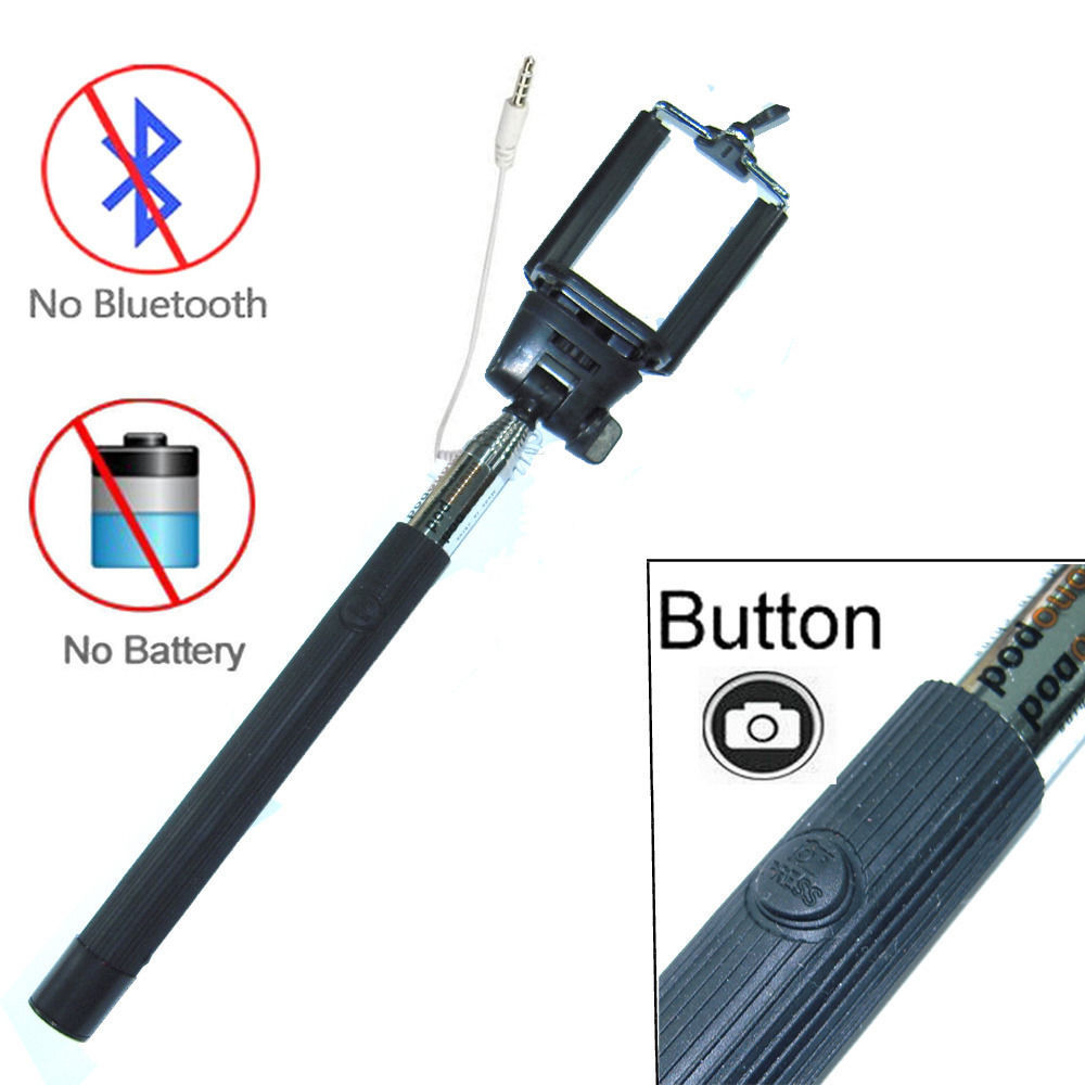 Primary image for Black Extendable Selfie Wired Stick Holder Remote Shutter Monopod for Smartphone