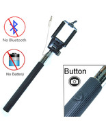Black Extendable Selfie Wired Stick Holder Remote Shutter Monopod for Sm... - $8.81