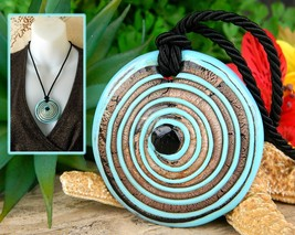 Glass Pendant Necklace Lampwork Turquoise Copper Concentric Circles  - $27.95
