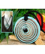 Glass Pendant Necklace Lampwork Turquoise Copper Concentric Circles  - €24,66 EUR