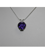 SALE New Sterling Silver Amethyst Pendant 9mm 2.30ct Solitaire February Birthsto - $26.00