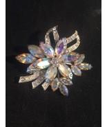 Vintage Weiss Aurora Borealis Flower Pin Silvertone Brooch - $38.65