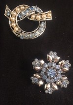 Vintage Coro Pins 2 Light Blue Rhinestone Silvertone Faux Pearl Brooches - $21.23