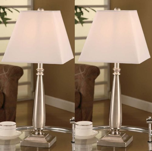 Primary image for Table Lamp With Square White Shades Brushed Nickel Set of 2  Bedroom Occasional