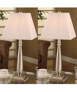 Table Lamp With Square White Shades Brushed Nickel Set of 2  Bedroom Occ... - $99.69