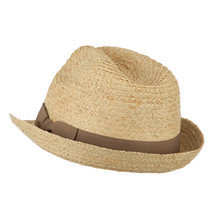 Big Size Braided Straw Fedora with Grosgrain Ribbon W09S53F - £40.76 GBP