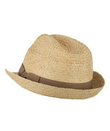 Big Size Braided Straw Fedora with Grosgrain Ribbon W09S53F - £39.91 GBP