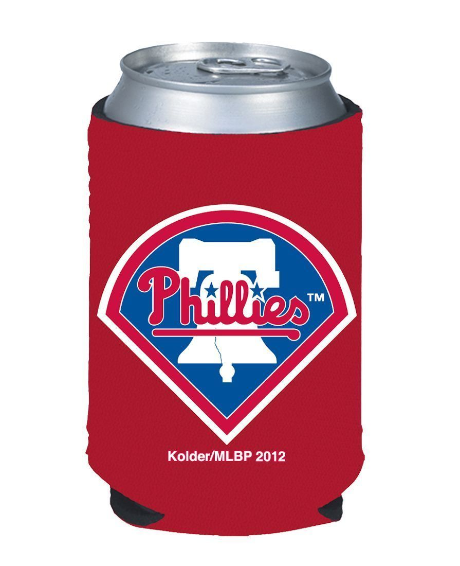 2 PHILADELPHIA PHILLIES BEER SODA CAN KADDY KOOZIE COOLIE HOLDER MLB BASEBALL