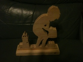 Wooden handmade boy and sandcastle sign display - $32.00