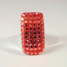 Peach Pink Orange Crystal Ring Cluster Rectangle Shape Size 6 Silver Metal - $24.99
