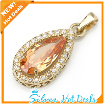 New Elegant Champagne Pear 925 Sterling Silver Pendant Luxury Gold Plating - $35.99