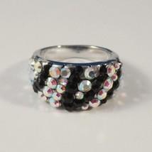 Zebra Stripe Band Ring Crystal Black Aurorea Borealis Silver Metal Size ... - $16.99