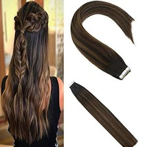 Sunny 18inch Tape in Highlighted Hair Extensions Darkest Brown Real Human Hair E