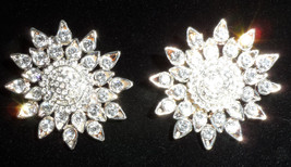 vintage silver tone clip on earrings sun flowers shines star sun dress blouse   - $18.00