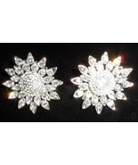 vintage silver tone clip on earrings sun flowers shines star sun dress b... - $18.00