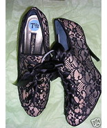 Beverly Feldman Ladies Black Lace Booties Shoes 7.5 M NWOB - $88.11