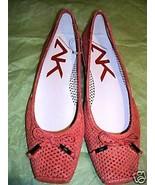 Anne Klein Orange Leather IMPRINT Ballet Flats NEW 6.5M NWOB - $44.55